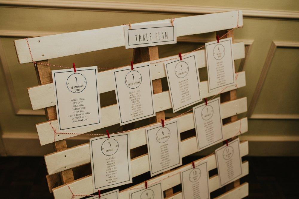 Wedding pallet seating plan